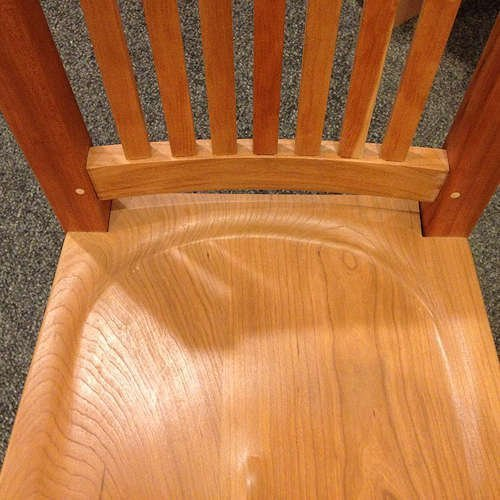 Mortise and tenoning/scooped wood seat