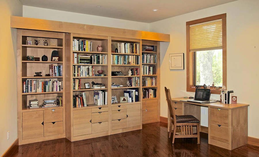 Custom Sonoma Library Wall Bed™ all in white maple. See slide show and videos.