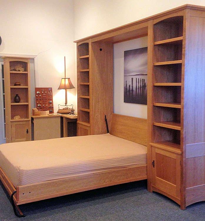 """Seven-door Craftsman Vertical Queen wall bed with 24"""" side towers"""