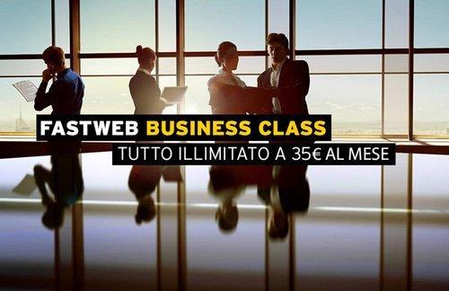 pubblicita FASTWEB BUSINESS CLASS tutto illimitato a 35 euro al mese