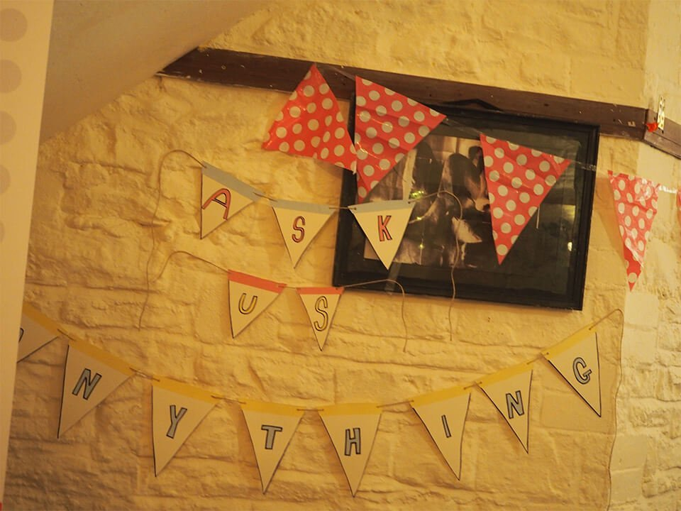 party decorations on a wall