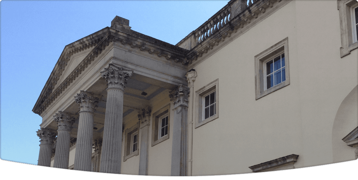 Listed builing with large exterior columns