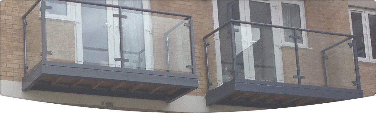 Flats with glass panelled balcony