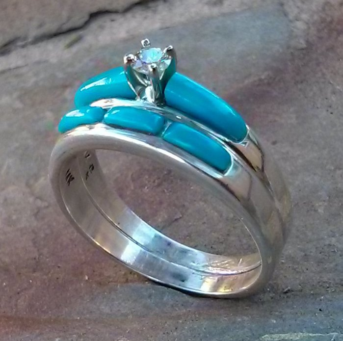 Diamond turquoise wedding ring set