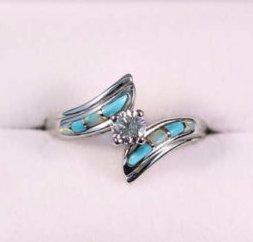Diamond opal  turquoise engagement ring