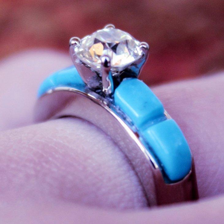 Ole European Cut Diamond Turquoise Engagement Ring