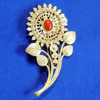 Gold and coral sunflower brooch