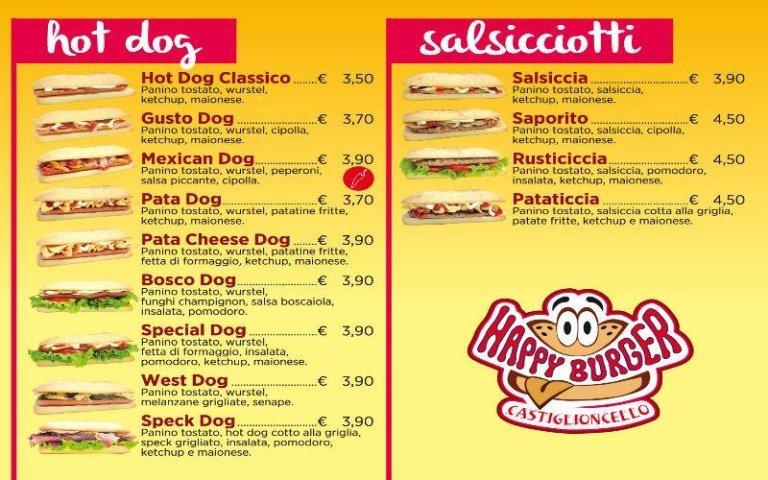 Menù Hot Dog