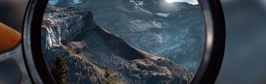 Mountains as seen through a loupe.