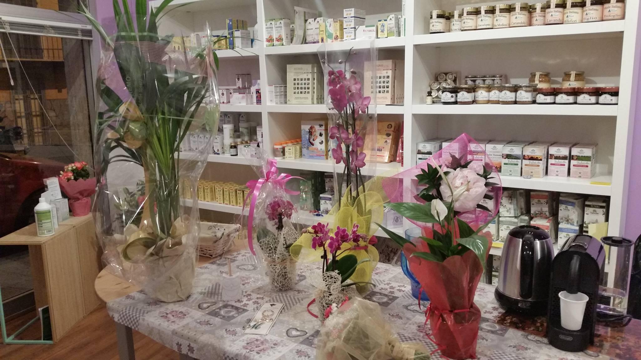 un tavolo con dei vasi di orchidee