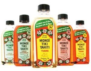 Delle bottiglie di olio della marca Monoi Tiki Tahiti