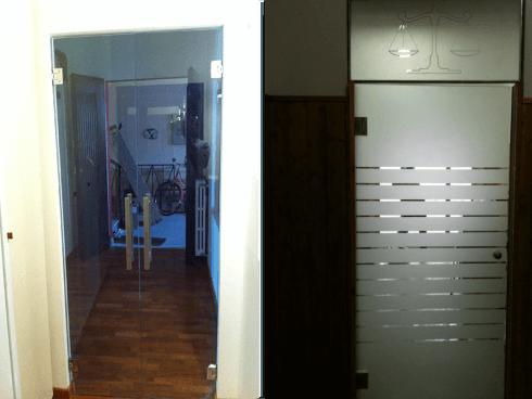 Porte in vetro trasparente e satinato