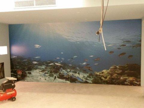 parete interna con decorazione a tema marino