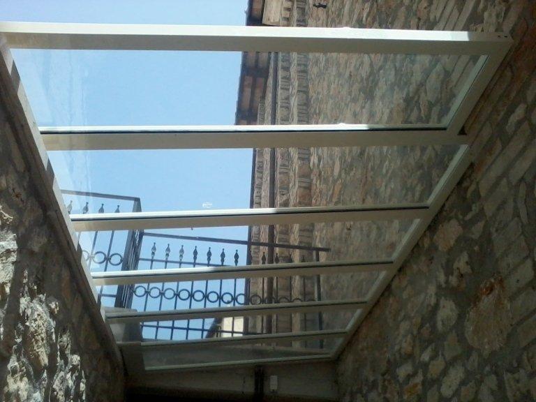 copertura in vetro e allumino