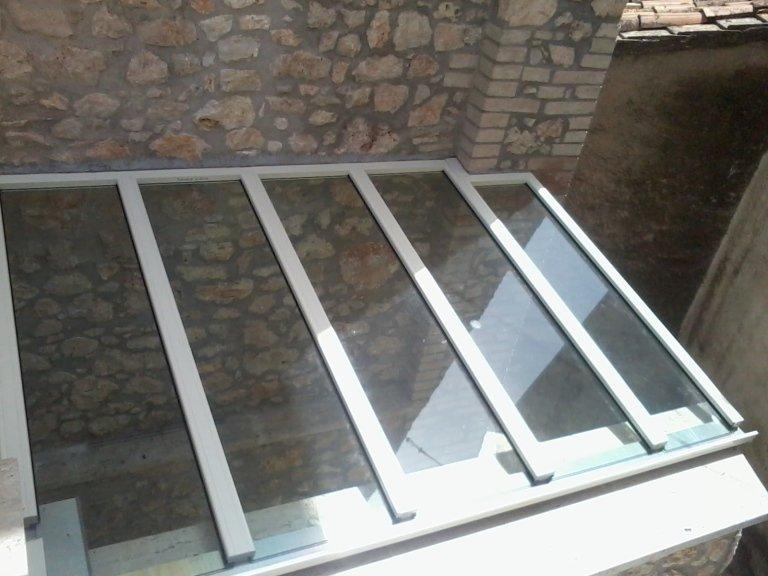 tettoia vetro e alluminio Allco