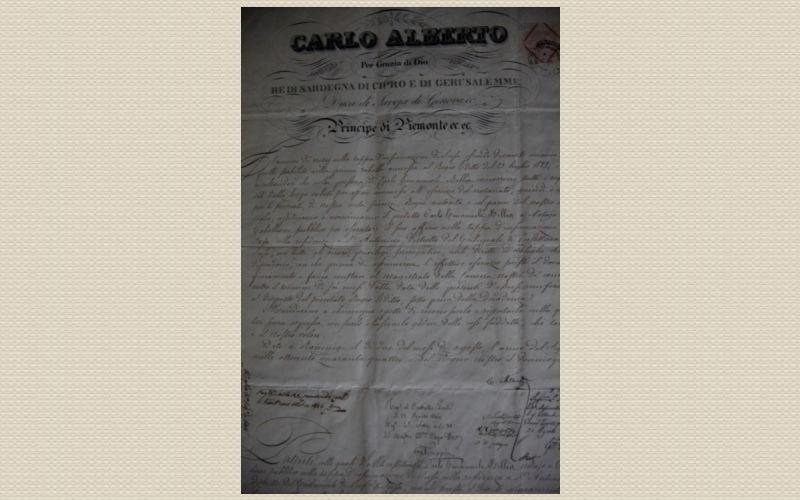 certificato Carlo Alberto