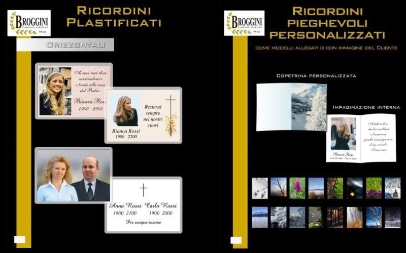 degli esempi di Ricordini con foto e messaggio di ringraziamento in plastica e pieghevoli
