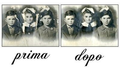 immagini in bianco e nero di tre bambini prima e dopo un ritocco