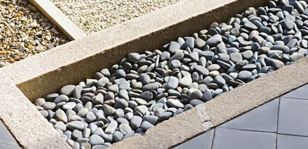 pebbled landscaping