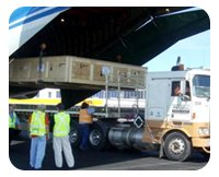 Unloading plane cargo