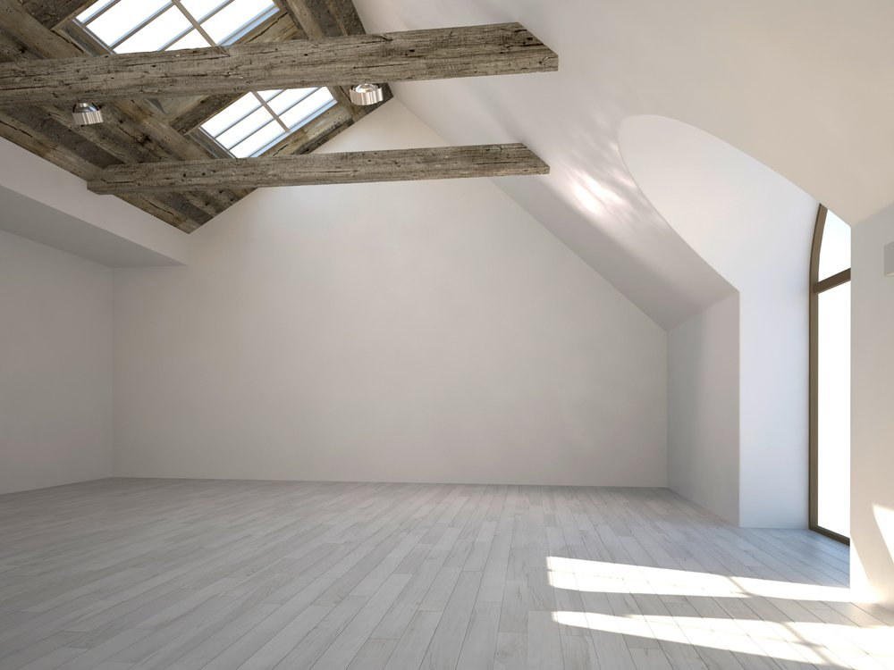 empty unfurnished loft room with roof window and solid wood floor