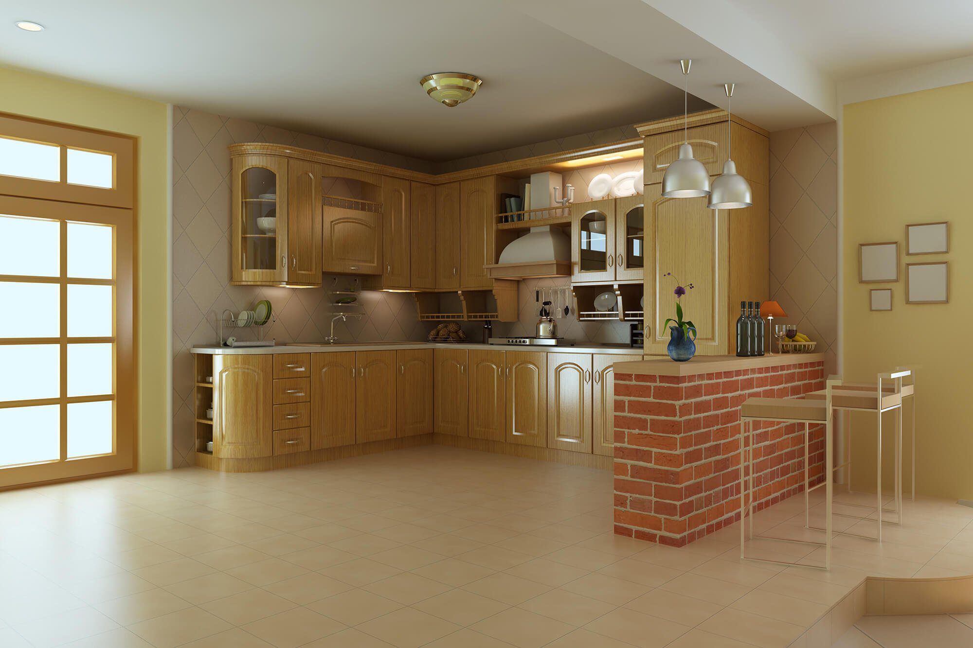 classic luxury kitchen.3d render
