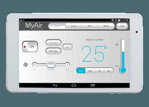 myair interface on white mobile phone