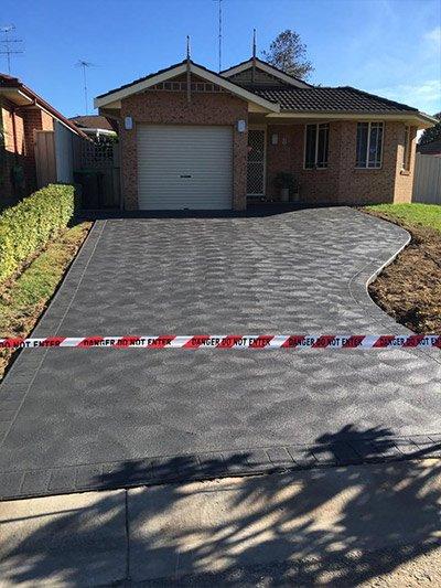 S & L Concrete after concrete is laid on driveway