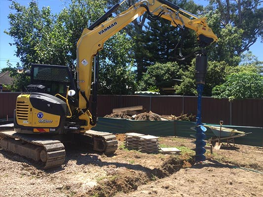 S & L Concrete heavy drilling machine on site