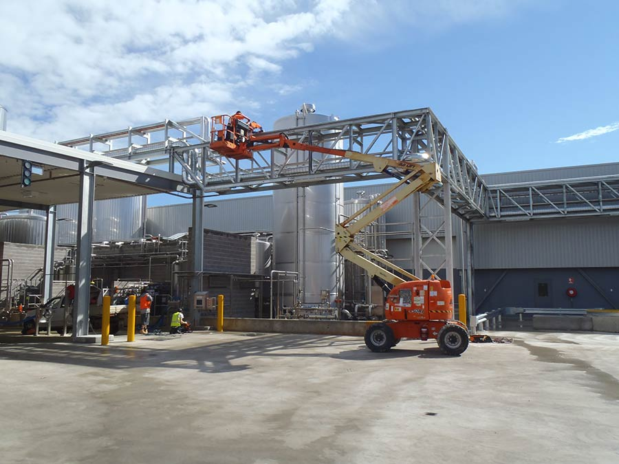 sydney factory with cherry picker