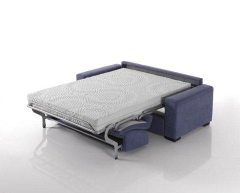 divano letto blu aperto