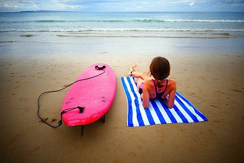 Women relaxing at the beach