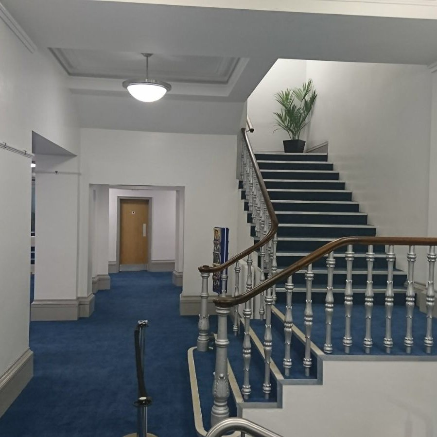 blue floor and staircase