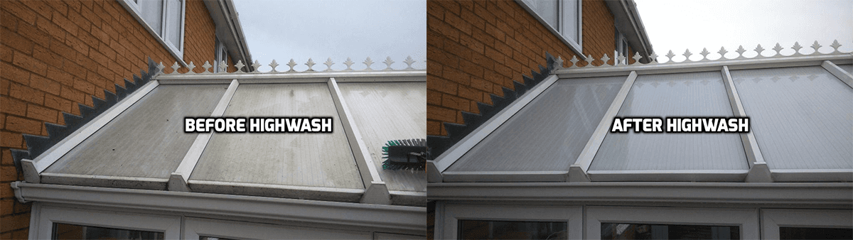 image consisting of 2 conservatory roofs,a before and after image