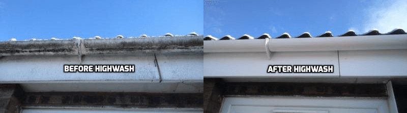 image consisting of 2 soffits ,a before and after image