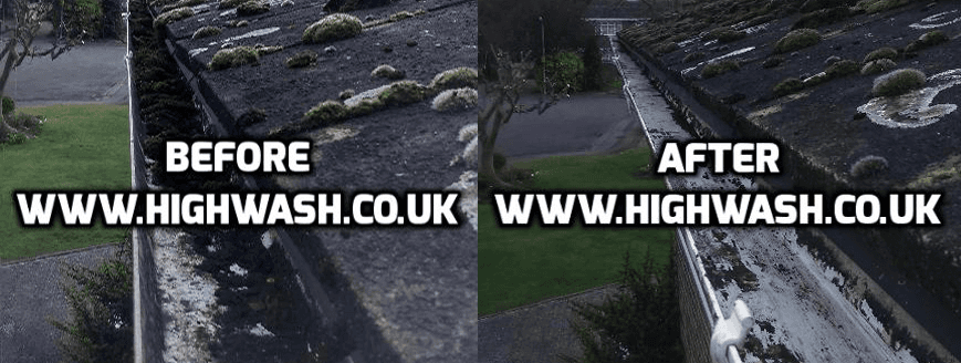 image consisting of 2 gutter drains,a before and after image
