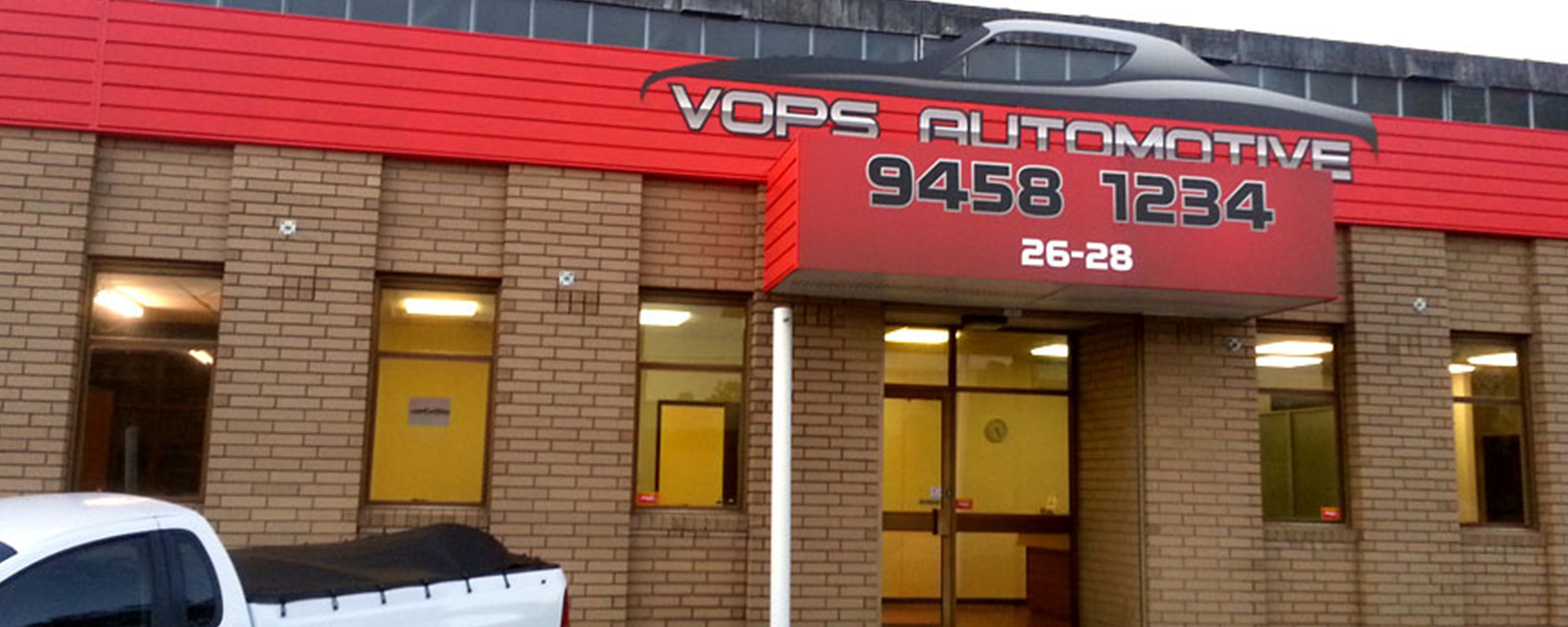 View of the Vops Automotive banner