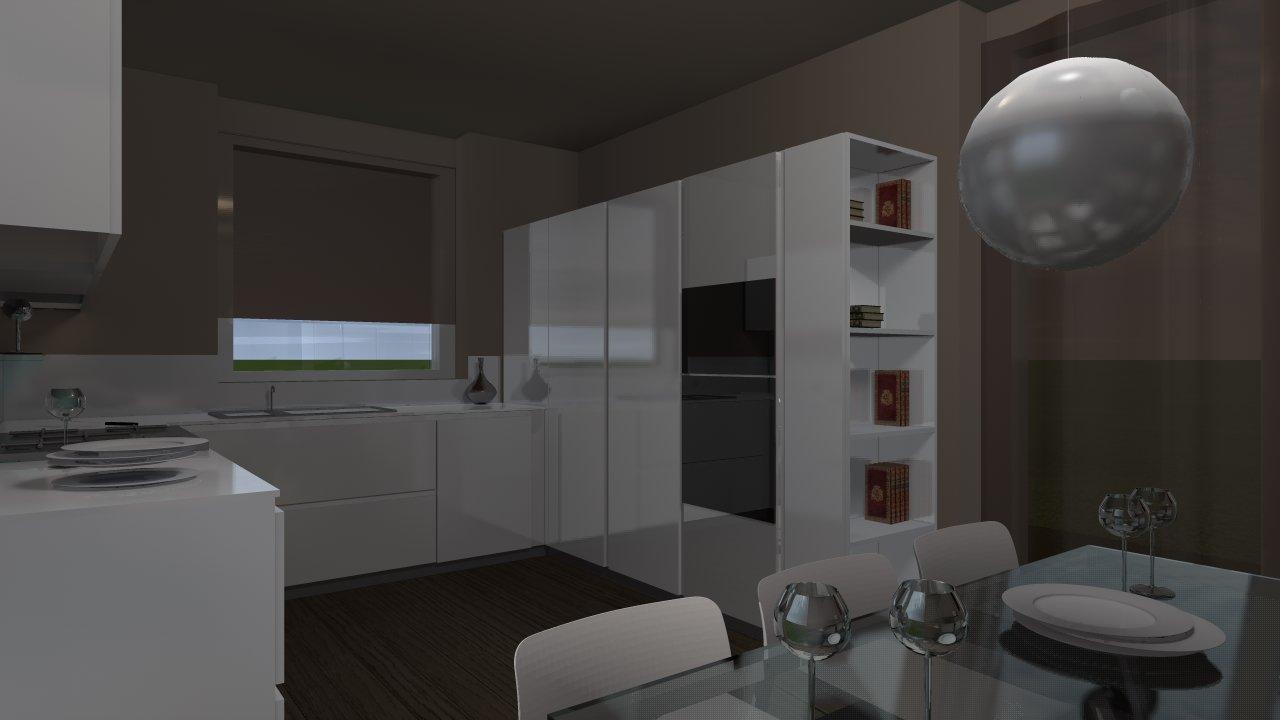 cucina con mobili bianchi