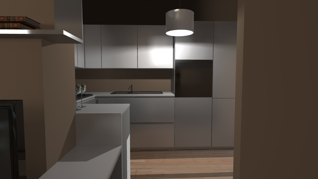 cucina bianca illuminata