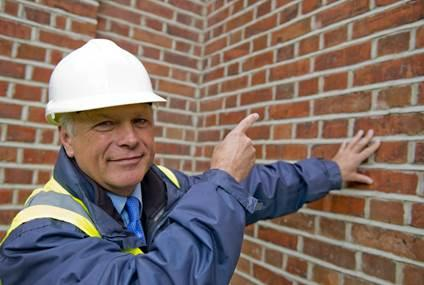 Expert pointing to a red brick wall