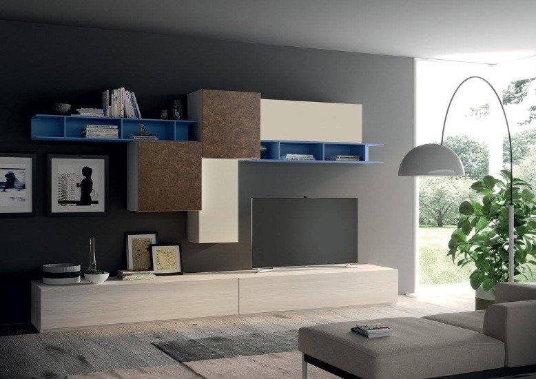 un mobile da tv di color bianco, marrone e azzurro