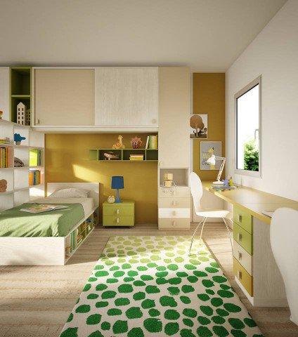 una cameretta con un letto singolo, un armadio e una scrivania di color avorio e verde