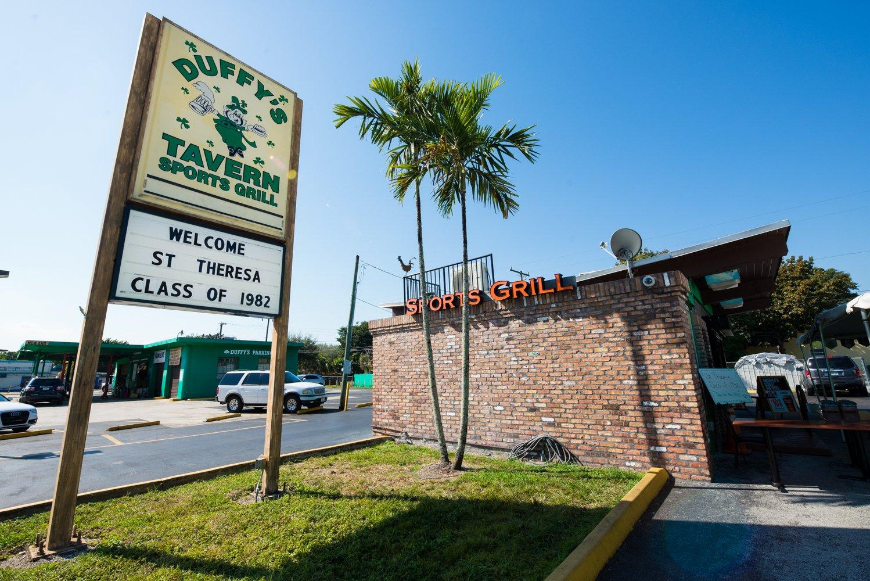 Duffy's Tavern Miami street sign