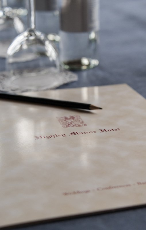 View of the menu served to the customer at Highley Manor´s Dining hall