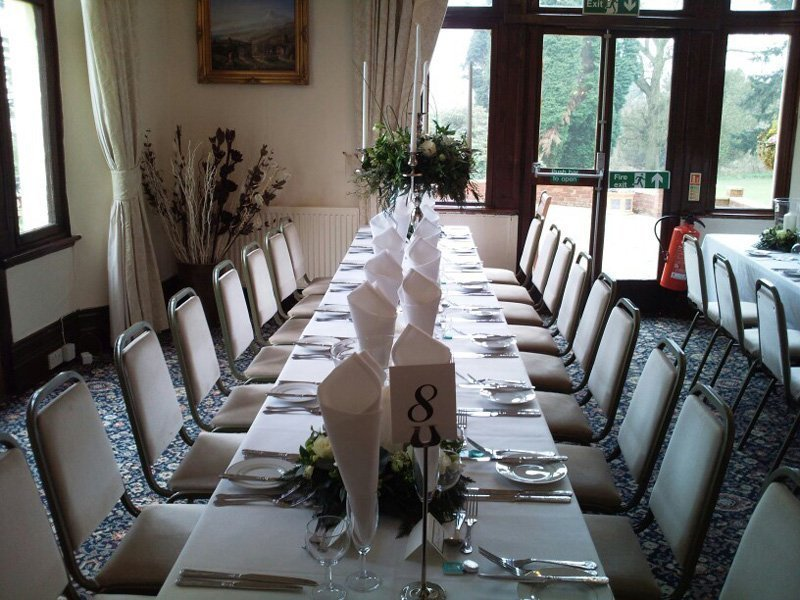 View of the table decoration done at Highley Manor's Wedding Venue