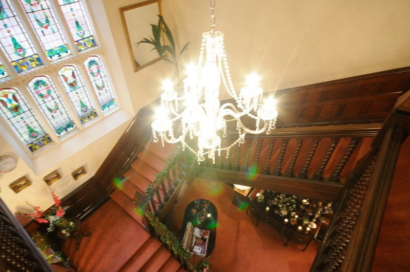 View of the staircase at the Highley Manor