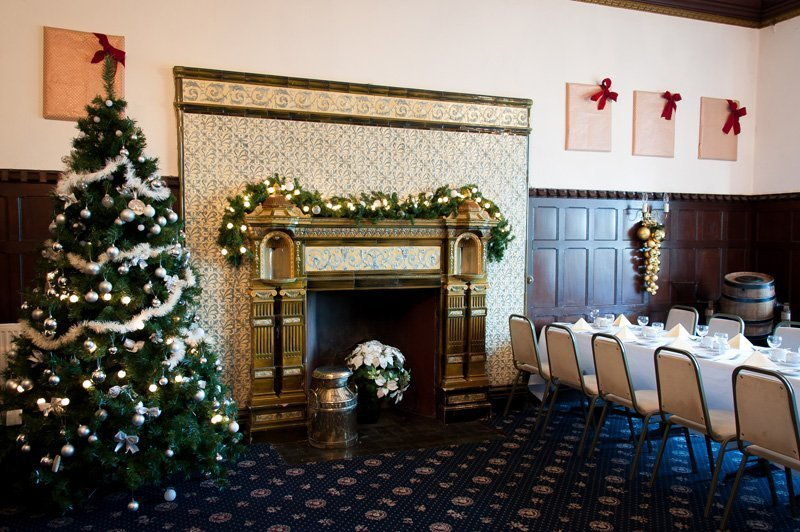 Decorated fireplace at the Highley Manor