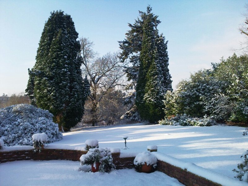 Snow covered field at Highley Manor