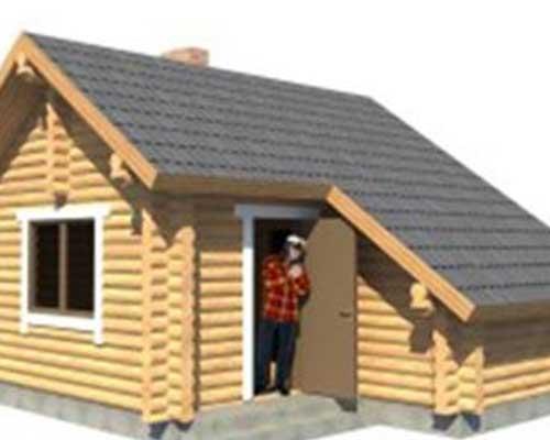 un uomo alla porta di una casa in legno