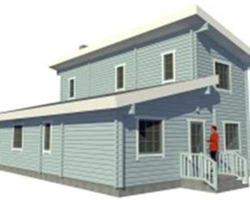 una casa a due piani in legno